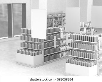 Set of shelves with cans and hangers. 3D rendering