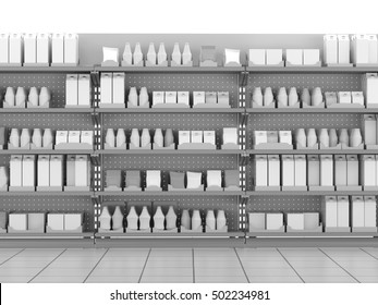 Set of shelves with many goods. 3D rendering