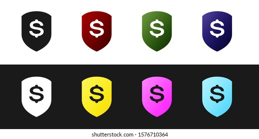 Set Shield and dollar icon isolated on black and white background. Security shield protection. Money security concept.