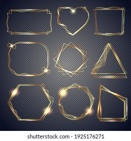 Set of shiny gold frames. Luxurious realistic square, round, oval borders, rectangular borders. Gold metal frames