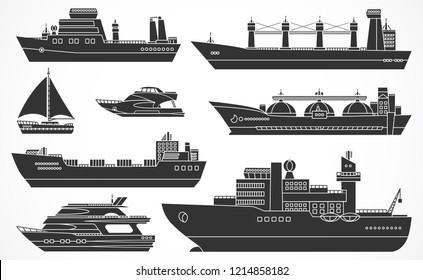 Set of ships: tanker, bulk carrier, dry cargo ship, icebreaker, trawler, yacht, sailboat.  Black silhouettes. Please see other sets of ships.