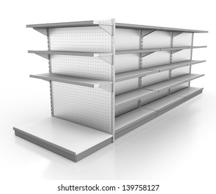 set of shop shelves. 3d image at an angle.