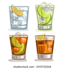 Set of short Drinks: 4 glasses with alcohol cocktail gin tonic, caipirinha or mojito drink, cuba libre, old fashioned or long island iced tea cocktails, whiskey with ice cubes, fizzy lemonade.
