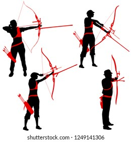 Set silhouette attractive female and male archer bending a bow and aiming in the target