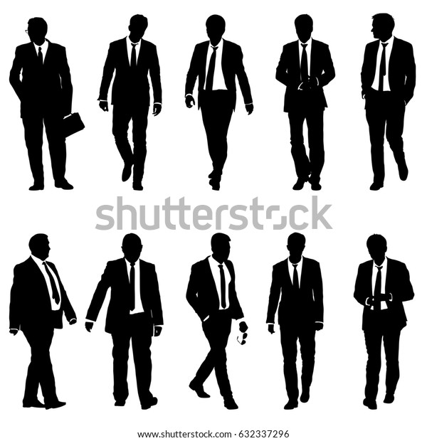 Set silhouette businessman man in suit with tie on a white background. illustration.