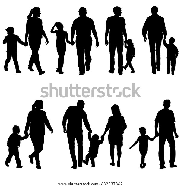 Set silhouette of happy family on a white background.
