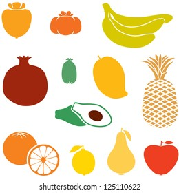 Set of silhouette images of different fruits