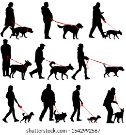 Set silhouette of people and dog on a white background