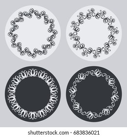 Set of silhouette round frames with floral elements. Design element for logo, banners, labels, prints, posters, web, presentation, invitations, weddings, greeting cards, albums. Raster clip art.