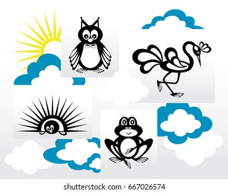 Set of silhouettes of animals in the clouds and the sun. Owl, frog, heron and hedgehog.