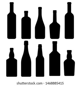 set of silhouettes of bottles of alcoholic beverages, illustration. collection of icons. raster copy