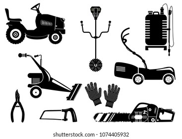 Set of silhouettes of garden equipment for grass mowing. Black and white icons illustration. Lawn mower and other agricultural and farm machinery