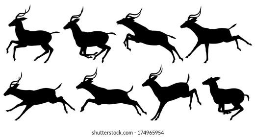 Set of silhouettes of running impala antelopes
