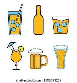 Set of simple color icons of alcoholic drinks for bar, cafe: cocktails, glasses, beer, bottles, whiskey on a white background. illustration.