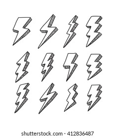 set of simple lightning doodle