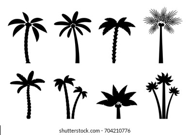 Set of simple palm trees. Flat cartoon black silhouette of palms on white background