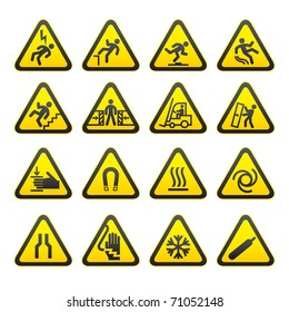 Set Simple of Triangular Warning Hazard Signs. Bitmap copy my vector ID 60338644