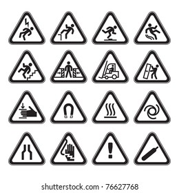 Set Simple of Triangular Warning Hazard Signs black