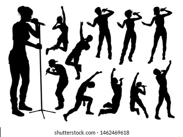 A set of singers pop, country music, rock stars and hiphop rapper artist vocalists in high quality detailed silhouette