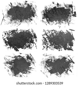Set of six black oil paint brush strokes, isolated on white background. Each item can be downloaded separately in high resolution in my portfolio.