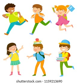 Set of six cartoon kids going to school