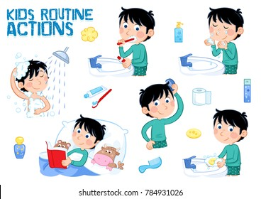 Set of six daily routines - hygiene - little boy with dark hair washing hands, washing face, brushing teeth, reading book, combing hair...  isolated on the white background