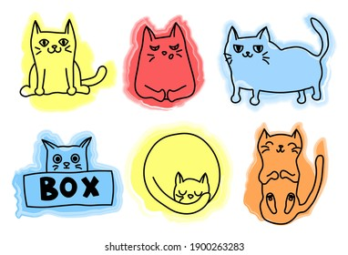 A set of six different kitties, drawn in line style on spots of abstract shapes. All elements are isolated on a white background.
