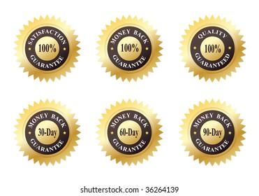 Set of Six Gold Seals