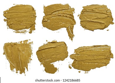 Set of six golden cosmetics swatch smears. Gold texture brush stroke design elements. Abstract hand drawn labels. Each item can be downloaded separately in high resolution in my portfolio.