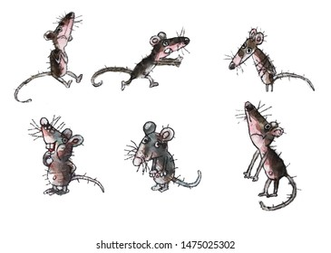 set of six pictures with cute gray mice, symbol of the new year 2020, isolated image, object, watercolor, illustration