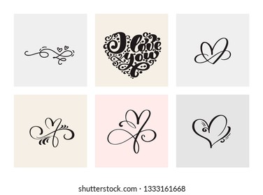 Set of six vintage Valentines Day Hand Drawn Calligraphic Hearts. Calligraphy lettering illustration. Holiday Design valentine. Icon love decor for web, wedding and print. Isolated