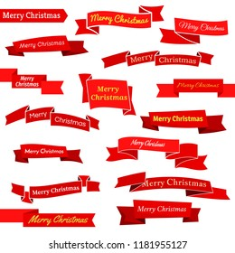 Set of sixteen red ribbons and banners with an inscription Merry Christmas. Great design element isolated on white background