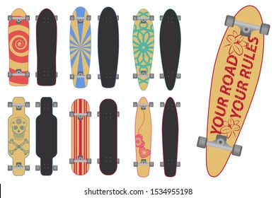 Set of skateboards and longboards isolated on white