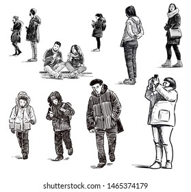 A set of sketches of different city dwellers