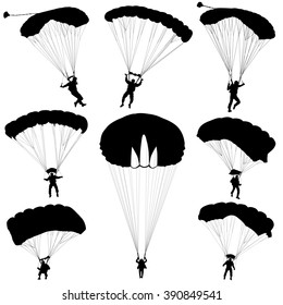Set skydiver, silhouettes parachuting illustration