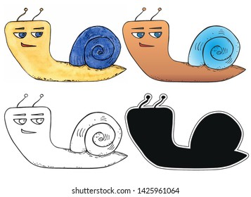 Set of sly grinning funny cartoon snails. watercolor, contour, silhouette