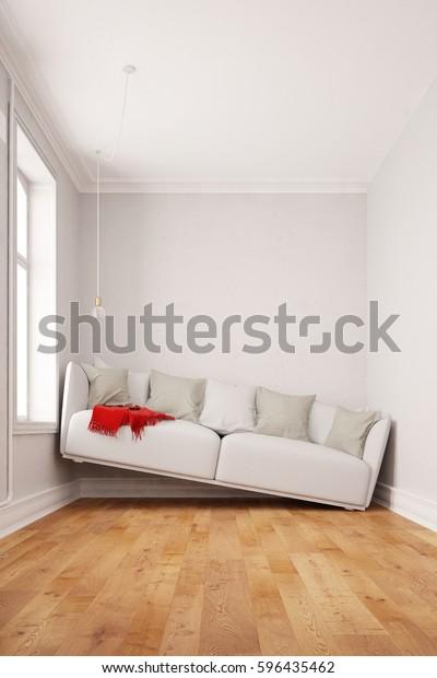 Kleine Raume Mit Einem Sofa Zwischen Stockillustration 596435462
