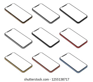 Set of smartphones in different colors with a blank screen, isolated on a white background.3d illustration.