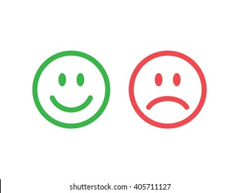 Set of smile emoticons. Line icons emoticons. Happy and unhappy smileys. Green and red color