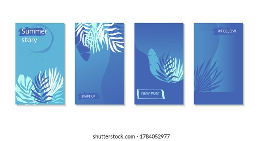 set of social media stories design templates with palm leaves. Creative backgrounds for  banner, poster, web, landing, page, cover, ad, greeting card, promotion. Summer vacation concept