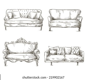 set of sofas drawings sketch style, freehand.
