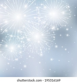 Set of sparkle firework on gray background, illustration.