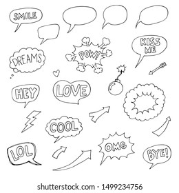 Set of speech bubbles Comic cartoon explosions with different emotions