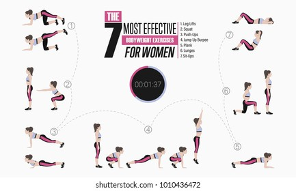 Set of sport exercises. Exercises with free weight. Leg lifts, Squats, Push-Ups, Burpee, Plank, Lunges, Sit-Ups. Illustration of an active lifestyle
