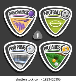 Set of sport logos, 4 triangle simple badges with balls, sports signs of minimal design with game equipment for sporting club or school, original type for title words of different kind of sport