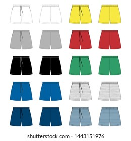Set of sport shorts pants design template. Technical sketch Fashion illustration on grey background. White, gray, black, blue, yellow, red, green colors. Melange and stripes fabric