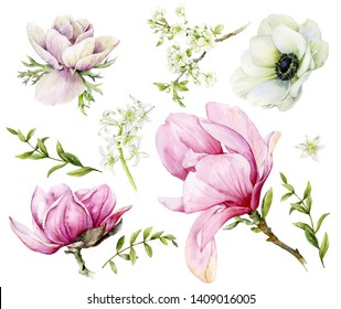 Set of spring watercolor flowers. Magnolia, anemone, hyacinth, cherry blossoms and green twigs.