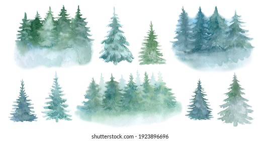Set of spruce, pine trees, trees isolated on a white background. Landscapes. Illustration. Watercolor. Clip art.