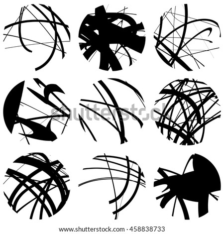 Set Squiggle Squiggly Line Circles 9 Stock Illustration 458838733