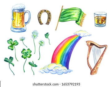 Set for St. Patrick's Day: beer in a mug, a glass of whiskey, clover, horseshoe, rainbow, Celtic harp, flag, watercolor painting on a white background, clipart, isolated.